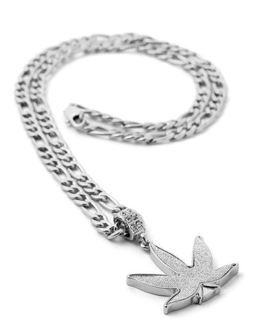 "Hip Hop Weed Micro Pendant 24"" Chain Necklace in Silver"