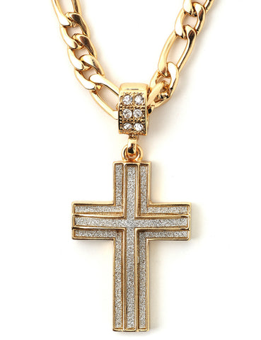 "Hip Hop Cross Micro Pendant 24"" Chain Necklace in Gold"