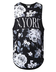 BLACK and White Floral Muscle Tank Top