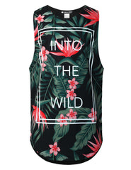 BLACK Wild Flower Graphic Muscle Tank Top
