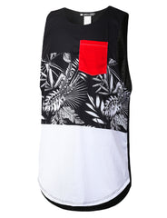 BLACK Leaves Color Block Muscle Tank Top