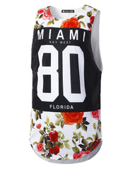 WHITE Varsity Graphic Muscle Tank Tops Miami