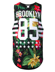 BLACK Varsity Graphic Muscle Tank Tops Floral Brooklyn
