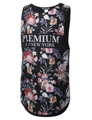 BLACK Floral Print Muscle Tank Top