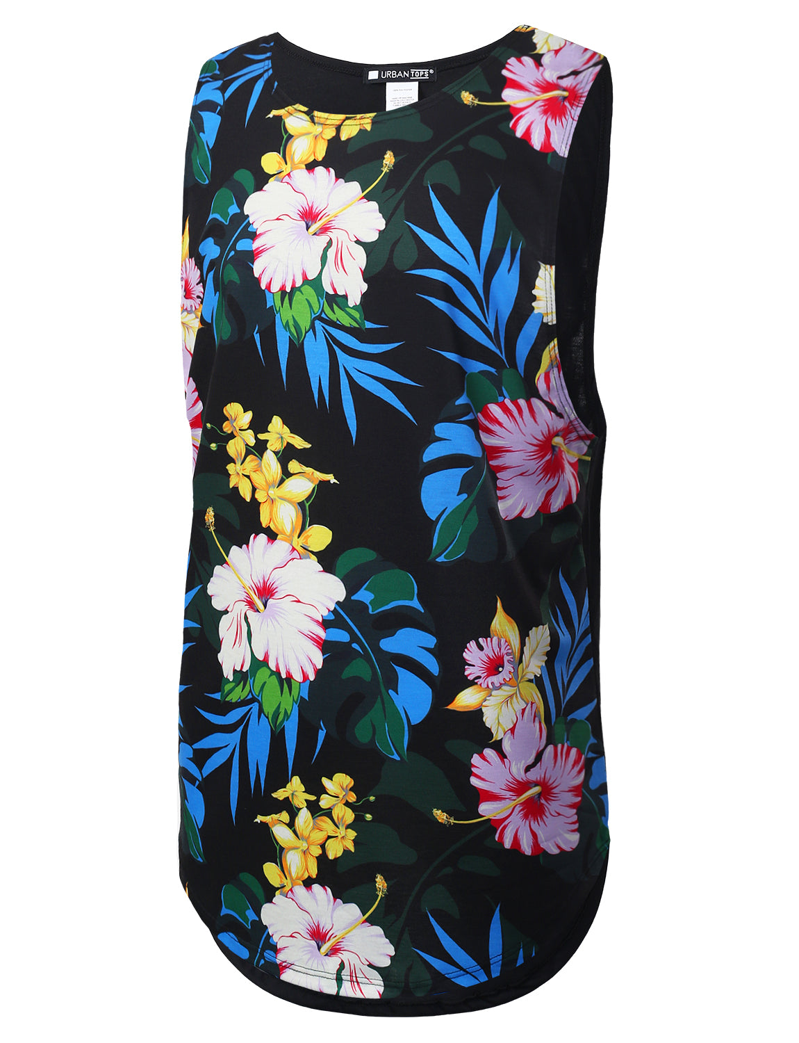 BLACK Hawaiian Floral Print Muscle Tank Top