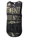 BLACK MilitaryPrint Muscle Tank Top