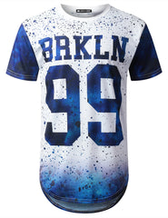 BLUE Brooklyn 99 Dyed Longline T-shirt - URBANCREWS