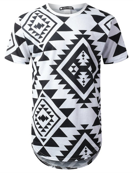 WHITE All Aztec Graphic Longline T-shirt - URBANCREWS