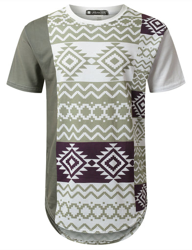 Color Block Aztec Longline T-shirt