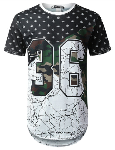 Color Block Camo Longline T-shirt