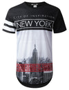BLACK New York City Longline T-shirt - URBANCREWS