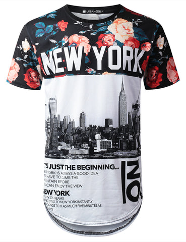 New York Floral Longline T-shirt