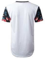 WHITE New York Floral Longline T-shirt - URBANCREWS