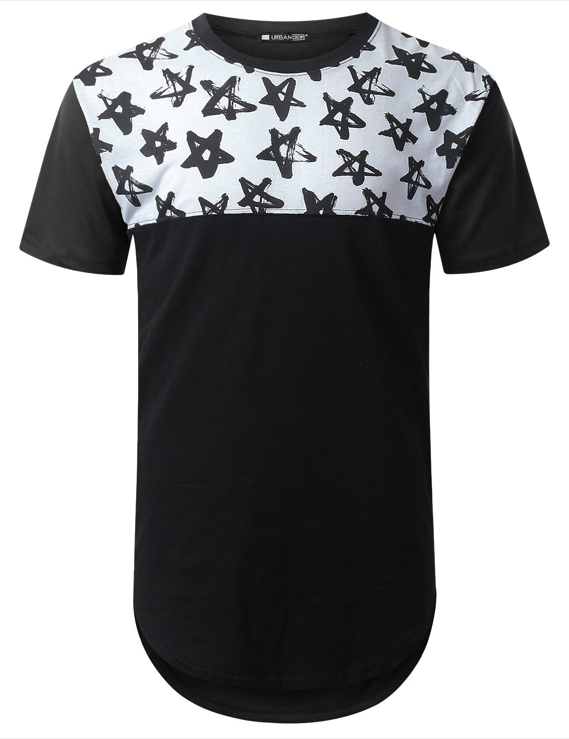 BLACK Star Graphic Panel Longline T-shirt - URBANCREWS