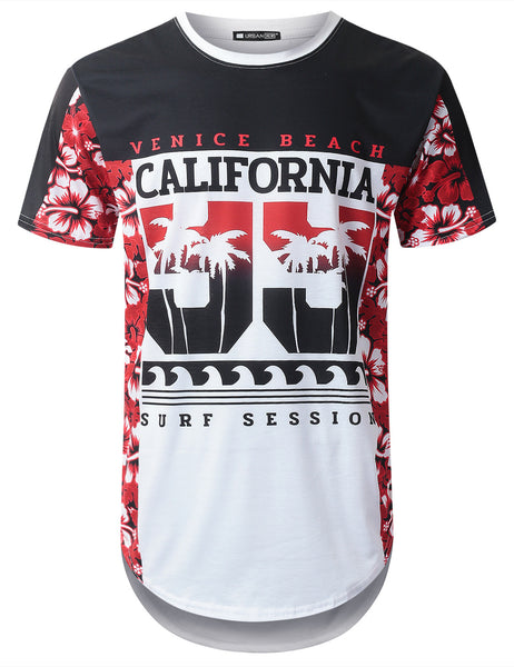 WHITE Cali 99 Tropical Longline T-shirt - URBANCREWS