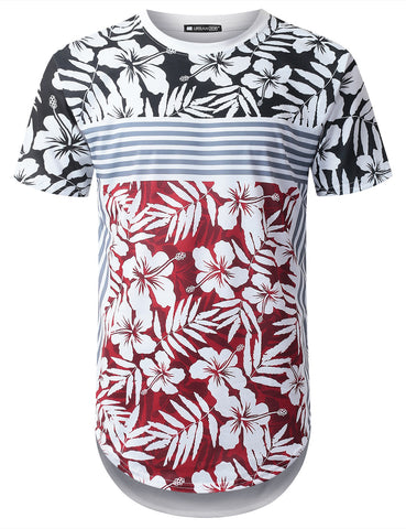 USA Flag Tropical Longline T-shirt
