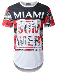 WHITE Miami Tropical Longline T-shirt - URBANCREWS