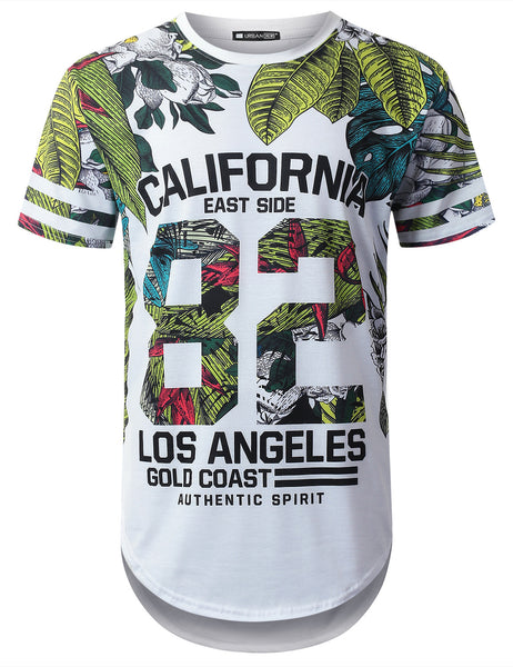 WHITE Cali 82 Tropical Longline T-shirt - URBANCREWS