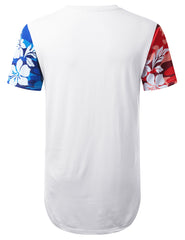 WHITE Miami 80 Tropical Longline T-shirt - URBANCREWS