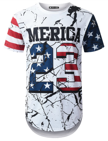 Crack USA Flag 23 Longline T-shirt