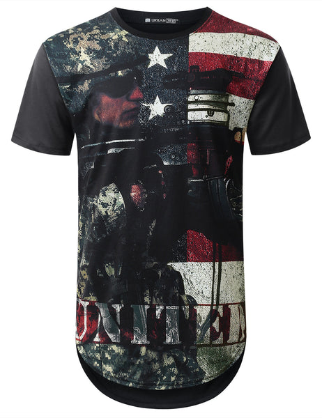 BLACK Army USA Flag Longline T-shirt - URBANCREWS