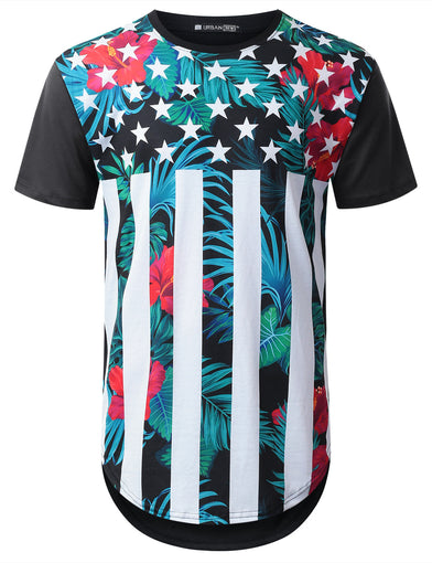 USA Flag Floral Longline T-shirt