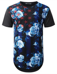 BLACK Blue Floral USA Flag Longline T-shirt - URBANCREWS