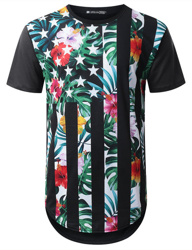 Color Floral USA Flag Longline T-shirt