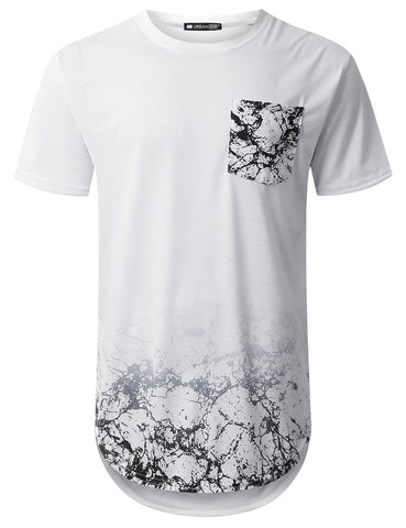 Crack Graphic Pocket Longline T-shirt