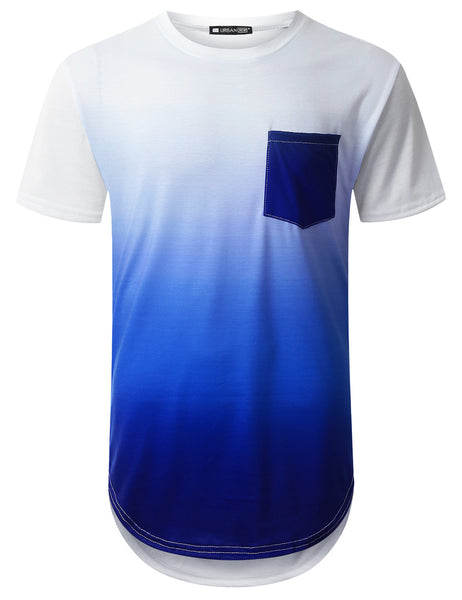 WHITE Blue Pocket Longline T-shirt - URBANCREWS