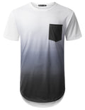 WHITE Black Pocket Longline T-shirt - URBANCREWS