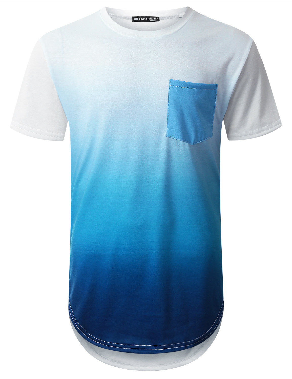 WHITE Sea Blue Pocket Longline T-shirt - URBANCREWS