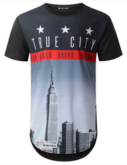 BLACK True City Longline T-shirt - URBANCREWS