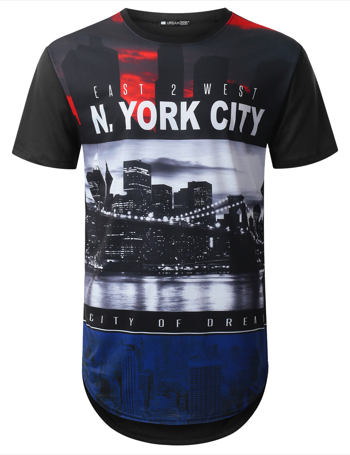 BLACK East West NY City Longline T-shirt - URBANCREWS
