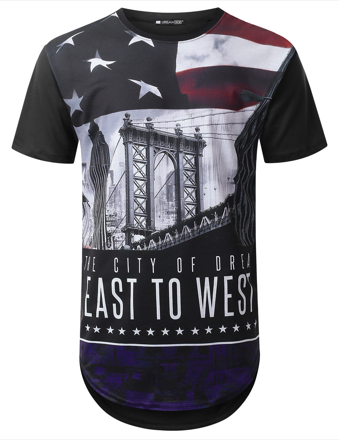 BLACK East West Flag City Longline T-shirt - URBANCREWS