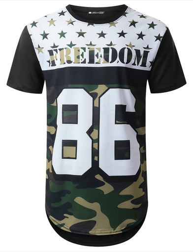 Freedom Camo Graphic Longline T-shirt