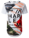 WHITE Colorful Camo Graphic Longline T-shirt - URBANCREWS