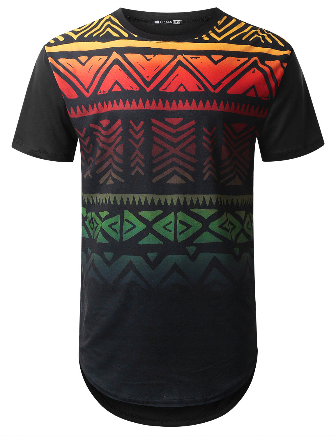 BLACK Rainbow Aztec Longline T-shirt - URBANCREWS