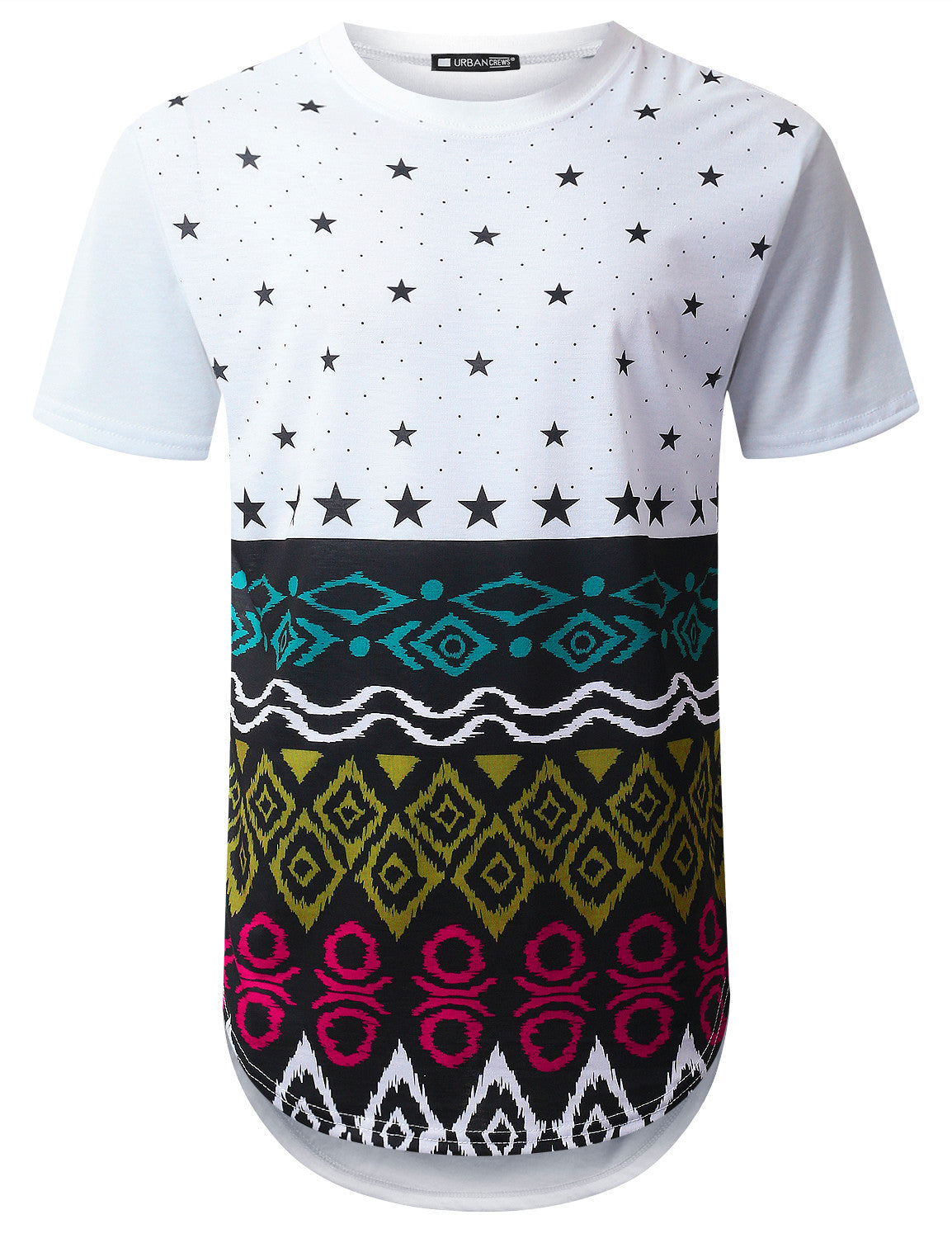 WHITE Star Aztec Longline T-shirt - URBANCREWS