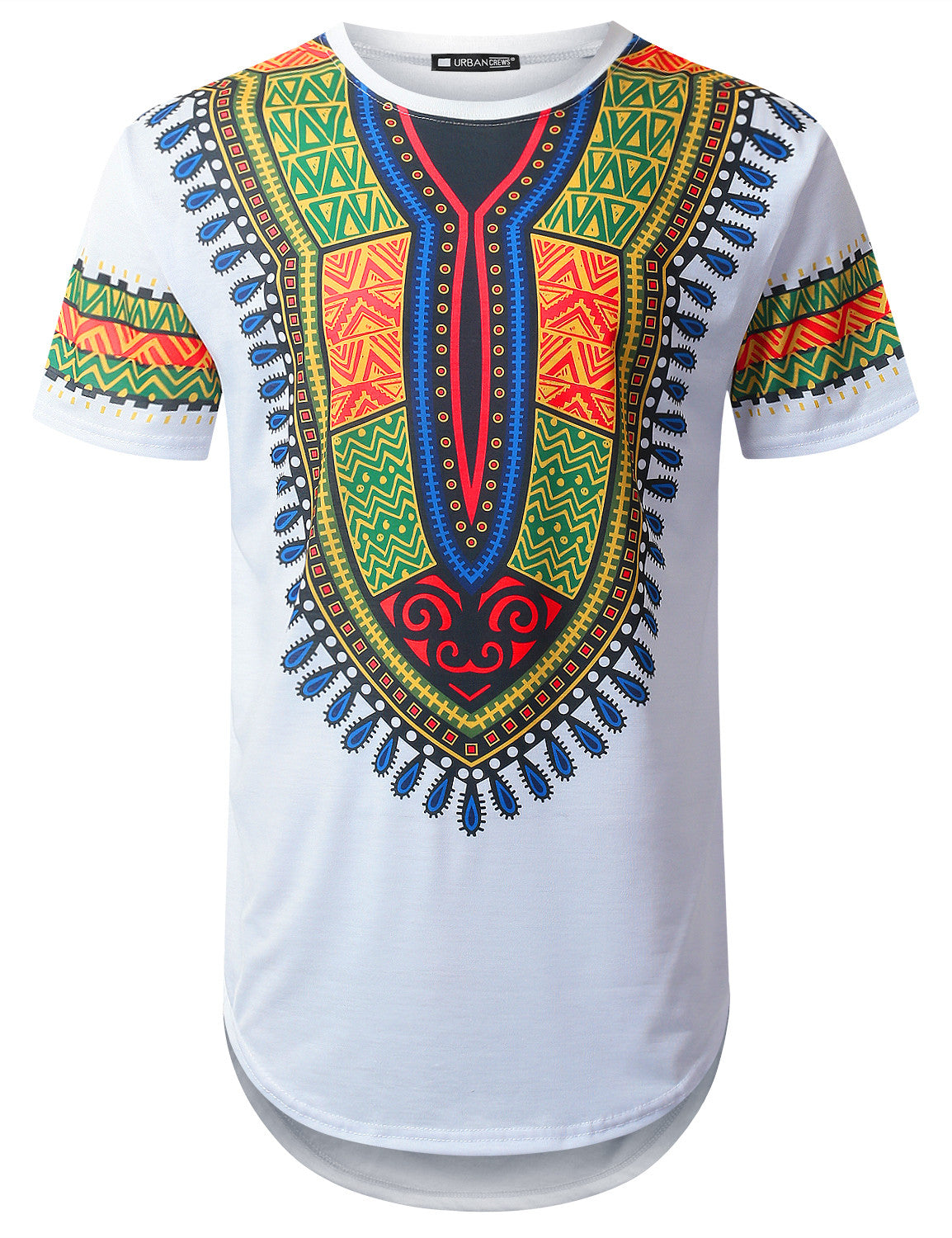 WHITE African Dashiki Longline T-shirt - URBANCREWS
