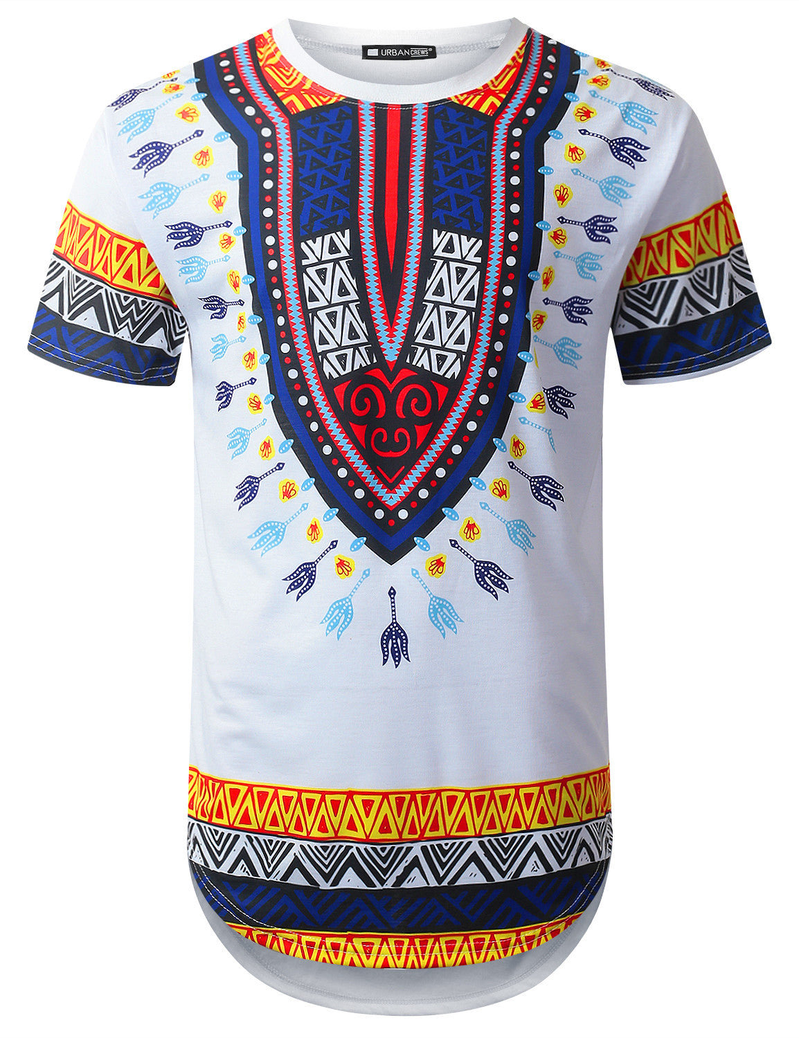 WHITE Aztec Dashiki Longline T-shirt - URBANCREWS