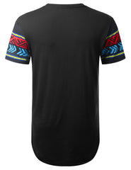 BLACK Tribal Dashiki Longline T-shirt - URBANCREWS