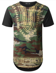 BLACK Camouflage Dashiki Longline T-shirt - URBANCREWS