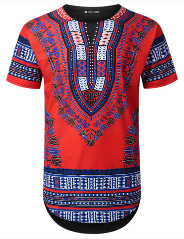 Red Dashiki Longline T-shirt