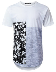 WHITE Vertical Panel Floral Longline T-shirt - URBANCREWS