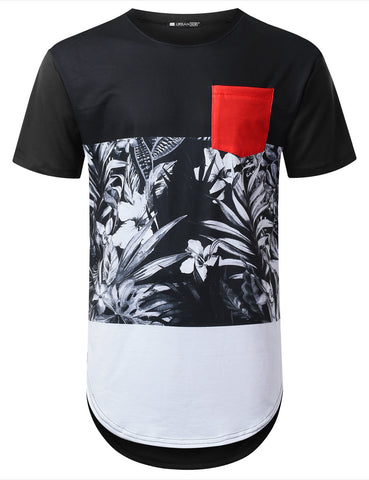 Panel Pocket Floral Longline T-shirt