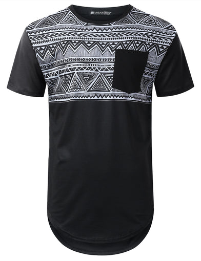 Aztec Panel Pocket Longline T-shirt