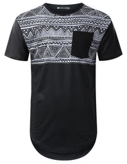 BLACK Aztec Panel Pocket Longline T-shirt - URBANCREWS
