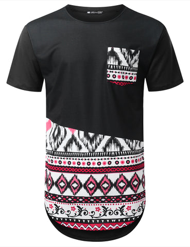 Color Aztec Pocket Longline T-shirt
