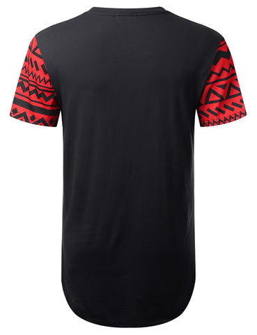 Red Aztec Pocket Longline T-shirt